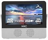 HKC P7H6 Mini TV portátil (TV HD de 7 Pulgadas) HDMI + USB, 60Hz, Reproductor Multimedia, batería incorporada, Cargador de Coche de 12 V, Antena portátil