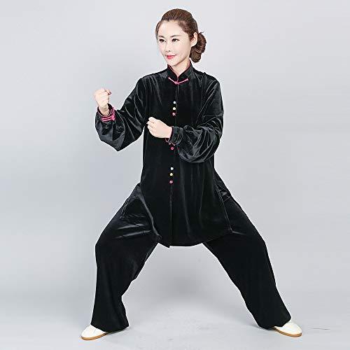 Hzonder Tai chi Wushu Kung fu vêtements Femmes Chinois Costume Traditionnel Adultes Arts Martiaux vêtements Oriental vêtements,Noir,XL