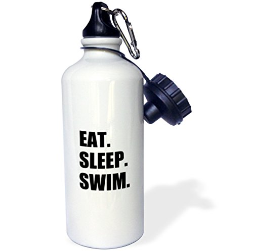 3dRose Eat Sleep Swimming Enthusiast-Swimmer Passion-Black Text Sports Water Bottle, 21oz, Multicolored