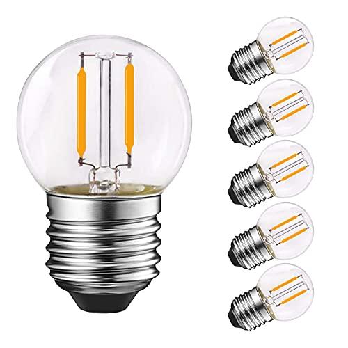 Genixgreen G40 LED Filament Mini Globe Outdoor Lampadina 1W bianco caldo 2700K 10W equivalente equivalente per interni ed esterni Decor, E27 Edison Base a vite 6-Pack