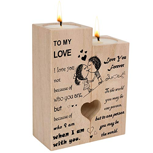 Kerzenhalter|Herzförmiger Kerzenhalter aus Holz, Wooden Candle Holder with Candle Heart-Shaped,Gifts for Husband Wife, Craft Hollow Couple Romantic Gifts for Birthday Anniversary Valentines-To MY LOVE