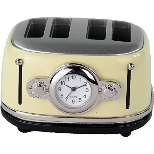 Clockee Designer Tischuhr Toaster aus Metall Beige