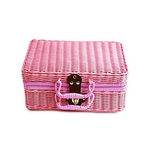 Bolso de mimbre retro para mujer bolso tejido de paja popular de verano exquisita caja tejida informal tejida a mano-Pink_M