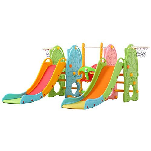 ETHY Toddler Climber Swing Set, Kids Slide Playset with 2 Climb Stairs Slide,1 Swing seat, Basketball Hoop, Ball Pool, Easy Set up Activity Center for Children Backyard Playground Outdoor