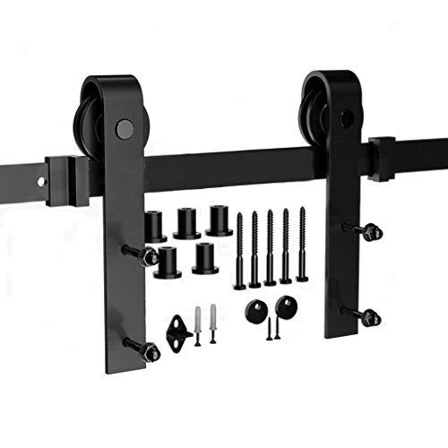 GWXFHT Schiebetürbeschlag Set 150-500cm Scheunentor-Aufhängeschienen-Schiebetür-Schienen-Hardware-Kit mit Dämpfung, Belastung: 150 kg (Size : 220cm Single Door kit)