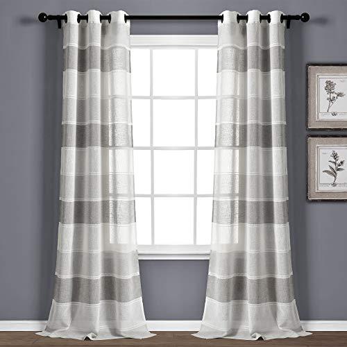 "Lush Decor Gray Textured Striped Grommet Sheer Window Curtain Panel Pair (84"" x 38""), 84"" x 38"