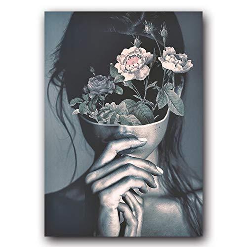 Moderne Leinwand Malerei Poster Mode Frau Abstrakte Mädchen Bilder Wandkunst für Schlafzimmer Wohnzimmer 50x70cm