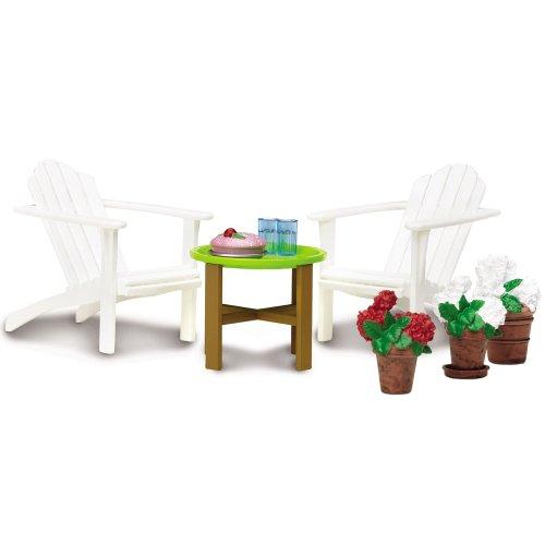 Unbekannt Puppenhaus Gartenmöbel Set 1:18 inkl. Accessoires Lundby 6,5x4,5x5,5cm: Smaland Zubehör Lundby Puppenstube Puppenhausmöbel Holz