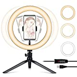 "Ring Light with Tripod Stand & Phone Holder, 10"" Desk Ring Light"