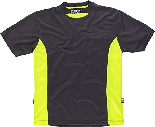 Work Team Camiseta Linea 6, Tipo Malla, Manga Corta, Bicolor. Hombre Gris+Amarillo A.V. XL