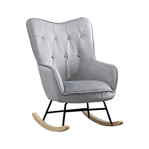 Homesailing EU Velvet Rocking Chair Leisure Button Armchair Relaxing Recliner Chair Upholstered Occasional Chair for Living Room Bedroom Reception Office Furniture (Grey)