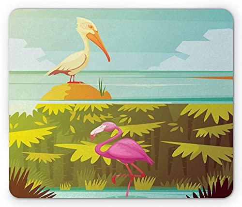 Alfombrilla de ratón Pelican, diseño de fauna de la selva tropical, flamenco rosado y dibujos animados de estilo retro de pelícano, alfombrilla rectangular de goma antideslizante, multicolor estándar