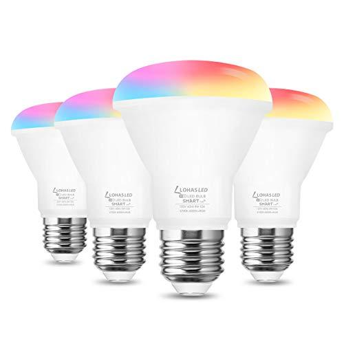 LOHAS Smart Light Bulb, E26 Color Changing LED Bulb, BR20 Light Bulb That Works with SIRI, Alexa, Google Home, 8W(60W Equivalent) Flood Light Bulb, RGB+2700K-6000K Dimmable Light Bulb, 4 Pack