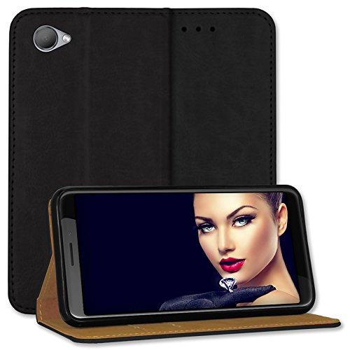 mtb more energy® Leder-Tasche Bookstyle für HTC Desire 12 (5.5'') - schwarz - Echtleder - Schutz-Hülle Wallet Folio Cover Hülle