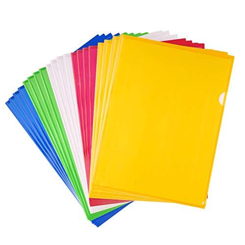 Cartelle Semplici A4,Protezioni per Fogli A4 20 Pack Cartelline con Lembi Portafogli in Plastica Copertina per File Trasparente Porta File per Ufficio Forniture Organizzazione di Documenti