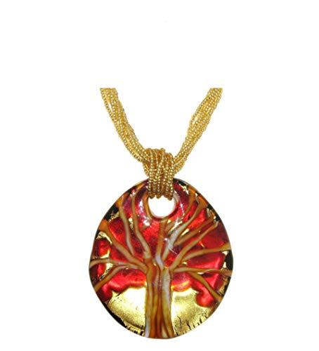 Venetiaurum - Collana per Donna con Medaglia Albero della Vita in Vetro di Murano e Argento 925 Placcato - Gioiello Made in Italy Certificato