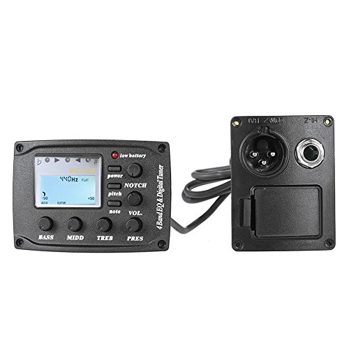 Ammoon - Chitarra acustica a 4 bande, equalizzatore e controllo del volume, 6,35 mm, XLR con funzione di visualizzazione jack, display LCD chiaro
