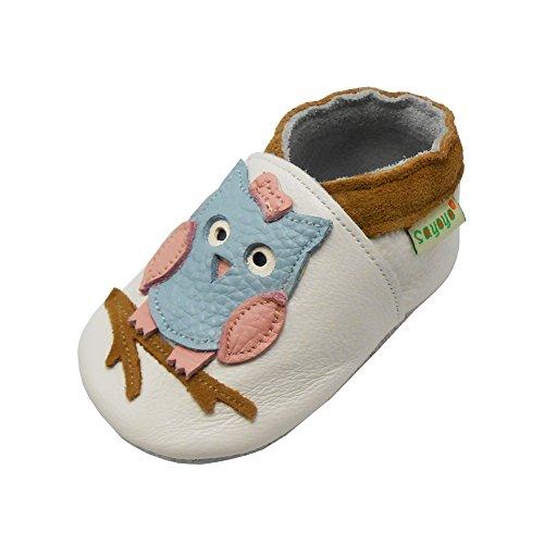 SAYOYO Baby Eule Lauflernschuhe Leder Weiche Sohle Baby Mädchen Baby Jungen Kugelsicherer Krippe Enfants Schuhe 21/22 (12-18) L Monate, Weiß