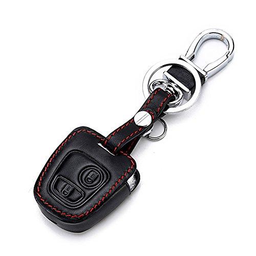 Happyit Cuir Voiture Clé Couverture de Cas Protecteur de la Peau pour Peugeot 107 207 307 407 106 206 306 406 CSL2017 Citroen C2 C3 C4 2 Bouton Télécommande Fob Clé