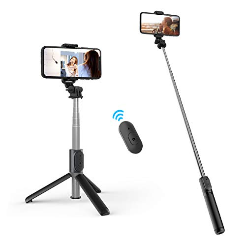 Selfie Stick Tripod, Extendable to 39 Inches Phone Tripod Stand with Wireless Remote Compatible with iPhone 12/12PRO/11/XS/XR/X/8P/7P, Galaxy...