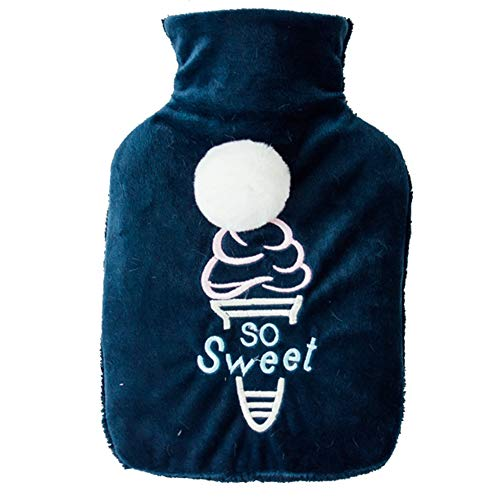 Meigold 1 bouillotte en peluche en caoutchouc pour crème glacée - 1 litre - Avec housse - Chauffe-mains - Cadeau d'hiver - Taille : 24 x 16,5 cm (bleu)