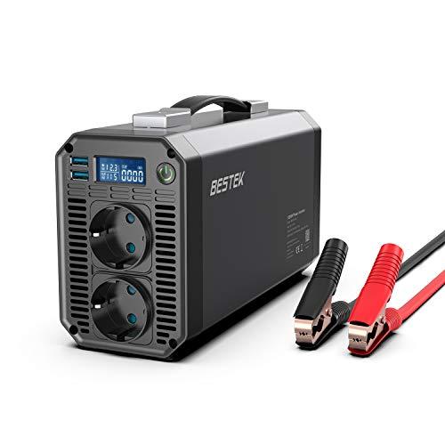 BESTEK Wechselrichter 1200W/12v 230v Spannungswandler Umwandler mit 2 USB 21W, 2 DE-Steckdosen und 1 LCD-Bildschirm, 1 Paar Batterieklemmen und 4 Sicherunge, für Urlaubsreisen im Freien