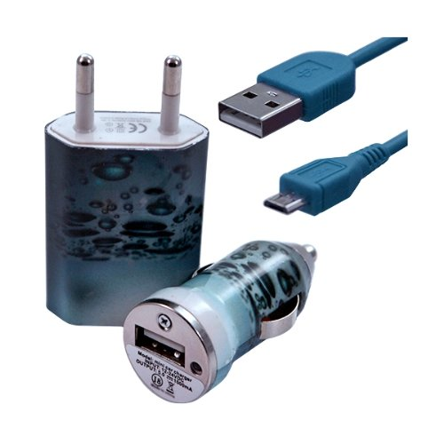 Seluxion–Cargador casa + mechero USB + Cable de Data para Wiko Cink + (diseño CV08