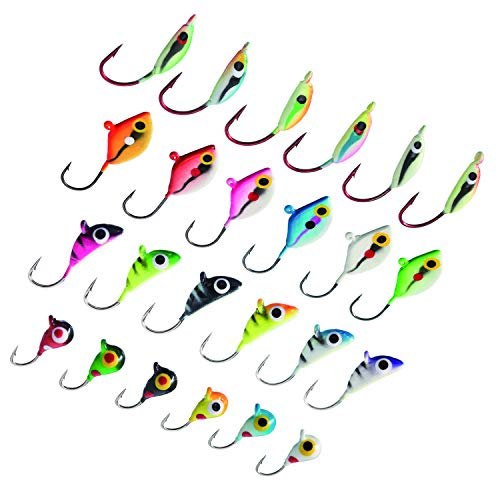 Bassdash Ice Fishing Lure Kit Glowing Paint Jigs for Winter...
