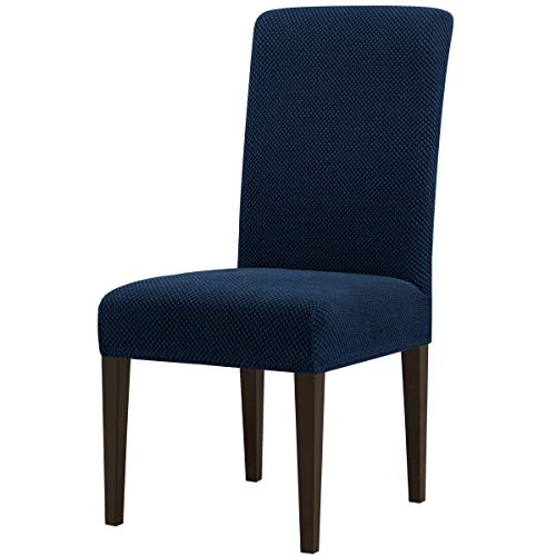 Subrtex Stretch Dining Room Chair Slipcovers (4, Blue Jacquard)