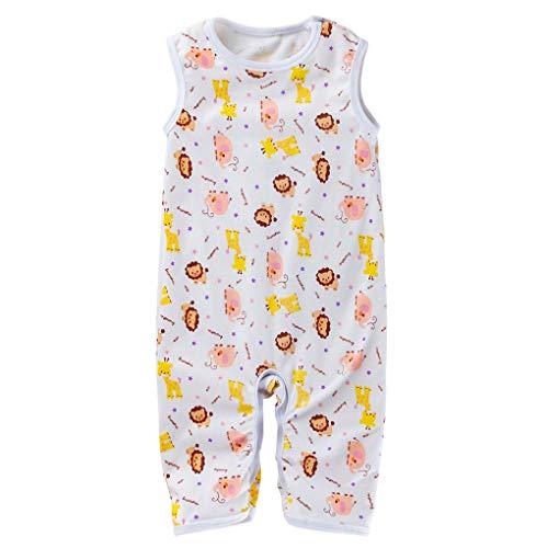 Fengyuanhong Sin Mangas de los Mamelucos del Verano del bebé recién Nacido Historieta del algodón de la Muchacha del Muchacho de esca Mono Infantil Animales Mono