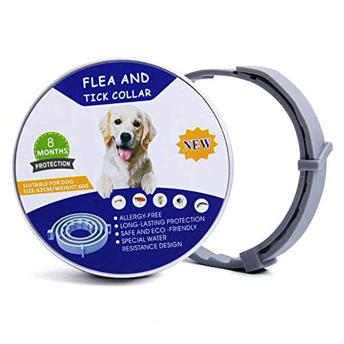YOHOTA Flea and Tick Collar for Dogs- tick Prevention Adjustable Waterproof Collar -Last for 8 Months with Design Natural Herbal Pet Treatment