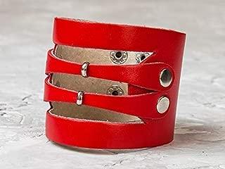 Leather Life 910, Biker Leather Bracelet, Red Wristband Cuff, Men Rock Jewelry, Unisex Wrist Bands, Women Arm Bangle Birthday Gift Friend Wide Wrap Cuff 3040r