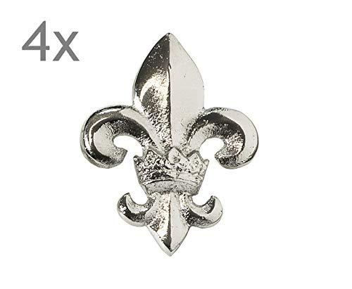EDZARD Kerzenpin, Kerzenstecker Lilie, Silber, Aluminium vernickelt, Höhe 6,5 cm, 4er Set