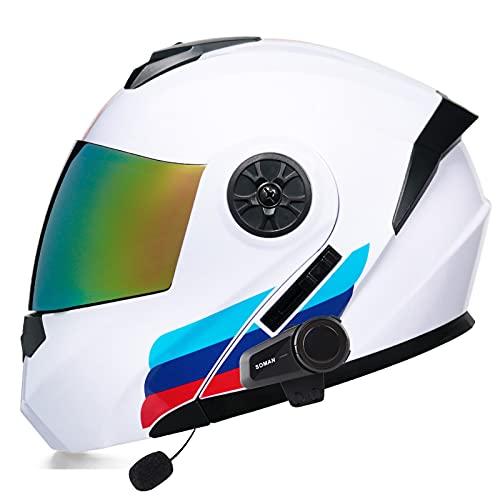 Casco Moto Modular Bluetooth Incorporado Casco Moto Integral ECE Aprobado con Gafas de Protección Solar Dual con Función de Respuesta Automática Motocicleta Para Adultos I,L=59~60cm