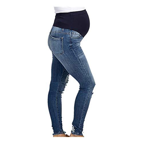 Spritumn Vaqueros Premamá Premamá Invierno Leggins Abrigos Embarazo Maternidad Pantalones Pitillo Jeans sobre Los Pantalones EláSticos (Azul, L)