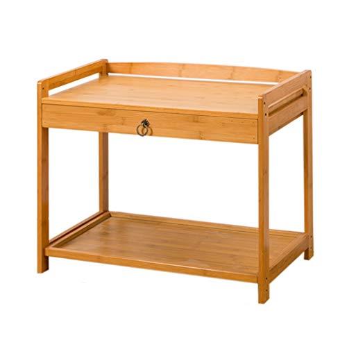 YULAN Table d'appoint en Bambou Table Basse Tiroir de Chevet Superposition de partitions Place carrée Haute Capacité Rétro Table à thé Salon Balcon Petit Appartement Canapé (Color : B)