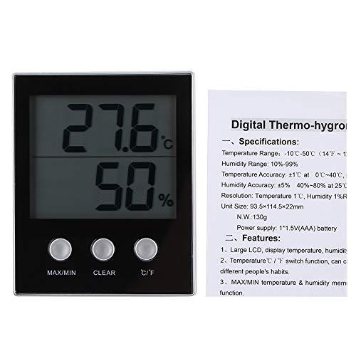 Byged Termómetro, Celsius/Fahrenheit Termómetro, Electrónico Negro para invernaderos domésticos