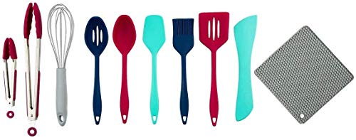 10 Pc. Ergonomic Silicone Utensil Set with Overmold Solid Core