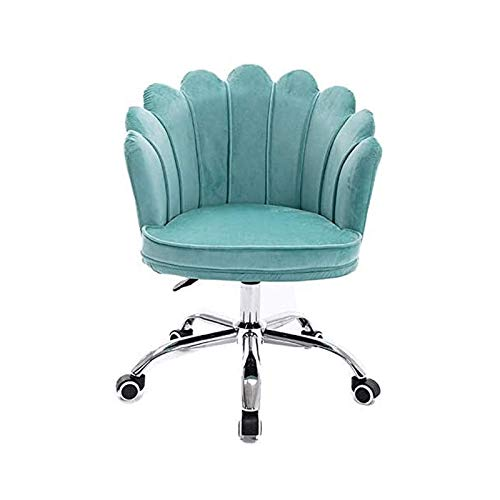 WSDSX Office Chair, Swivel Chair with Comfortable Middle Petal Backrest, Adjustable Computer Desk Chair,Home Office Modern Velvet Lounge Chair (Color : Blue)