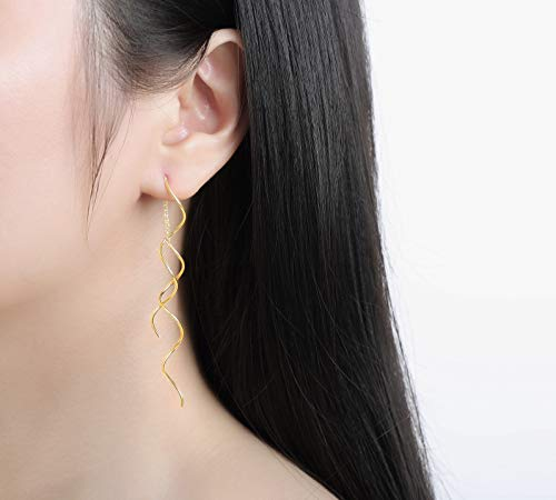 Acefeel Fresh Style Exquisite Threader Dangle Earrings Curve Twist Shape for Women's Gift E158 (18K Gold plated)
