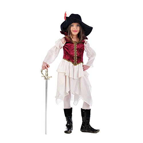 Moschettiere Femmina - Costume da Bambina per Travestimento - 3 Pezzi - Camicia, Gonna, Cappello - - Rosso/Nero - 3/5 Jahre