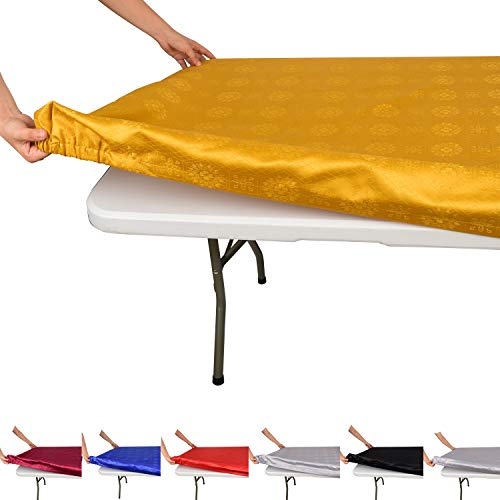 """Fitted Rectangle Tablecloth for 6 Foot Tables – Reusable Elastic Edge Table Cover for Folding Banquet Tables – Washable 100% Polyester Fabric with Mitered Corners for Parties and Picnics (32"""" x 72"""")"""