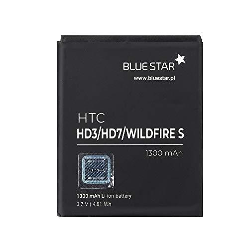 Blue Star Premium - Batería de Li-Ion Litio 1300 mAh de Capacidad Carga Rapida 2.0 Compatible con el HTC HD3 / HD7 / Wildfire S