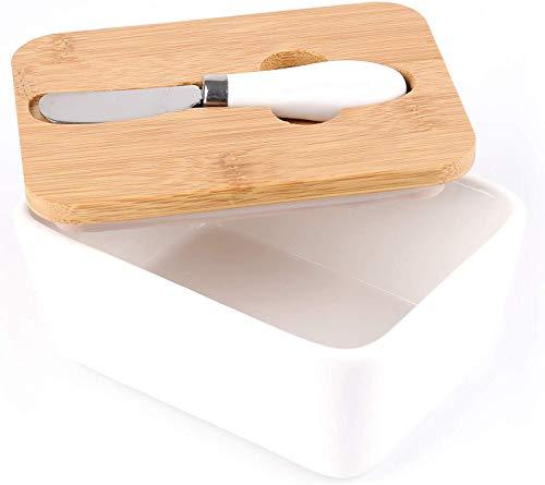 Lawei - Mantequera de porcelana con cuchillo y tapa de madera de bambú - Contenedor grande para mantequilla y mantequilla con soporte para mantener la mantequilla fresca, 16 x 12 x 7,5 cm