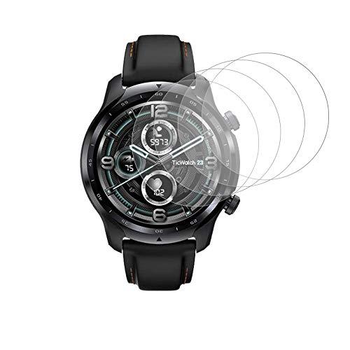 Aerku 4 Stücke Kompatibel für Ticwatch Pro 3 GPS Bildschirmschutzfolie aus Gehärtetem Glas, HD Hochauflösende Panzerglas Schutzfolie Blasenfreie Folie - Transparent