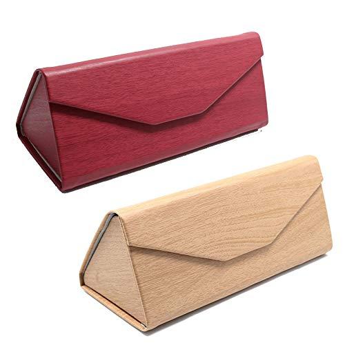 Gafas de Sol Estuche de Gafas Plegable Estuche plegable para gafas triangular Creative Triangular Caja de Almacenamient,para Gafas, Gafas de Lectura, Gafas Deportivas 2 Piezas (Rojo y Madera)