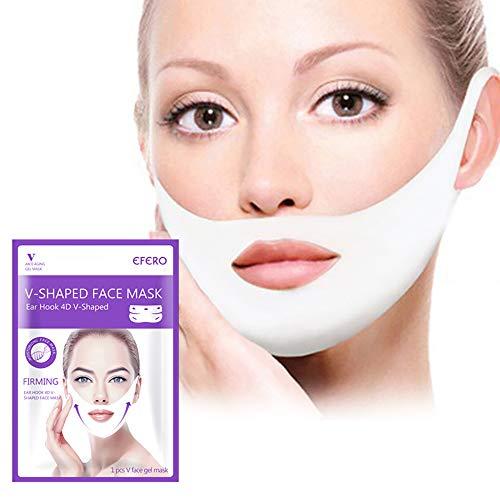 Máscara V Line Reductor de Mentón Doble Mascarilla Intensiva de Elevación, Antiarrugas para reafirmar, rejuvenecer e hidratar la piel del rostro y el cuello