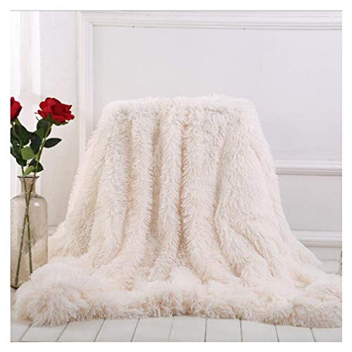 Arkey weiche, lange Zotteldecke aus Kunstfell, warm, elegant, gemütlich, flauschig, als Tagesdecke geeignet, Fleece, weiß, 160 x 200 cm