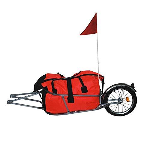 Qnlly Einzelrad-Fahrradanhänger mit freiem Beutel kann 88LB, Fahrradgepäckanhänger, 16-Zoll-Riesenrad-Frachtfahrradanhänger Laden