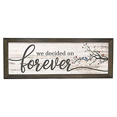 We Decided On Forever White Rustic Wood Wall Sign 6x18 (Brown Frame)